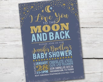 I Love You to the Moon and Back Baby Shower Invitation, PRINTABLE Moon Baby Shower Invitation, To the Moon and Back
