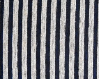 Navy Blue and Natural Stripe Fabric, Cotton/Rayon/Flax Blend, Fabric by the Yard