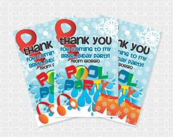 Winter Pool Party Thank You Tags, Printable file, Personalized