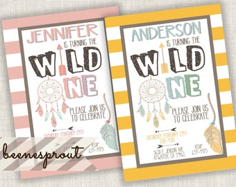 Wild One Stripes Tribal Dream Catcher First Birthday Invitation Boy or Girl