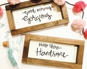 His and Hers Hand Lettered Signs, Gorgeous and Handsome, two 12x6 pieces