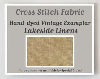 VINTAGE EXAMPLAR 32 46 ct. hand-dyed cross stitch linen fabric count Lakeside Linens Belfast Edinburgh hand embroidery