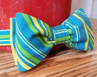 Striped Blue and Yellow Bow Tie
