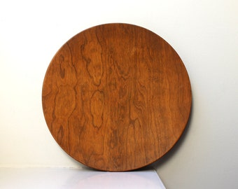 Vintage Modern Round Tray Serving Dish Wood Platter Rustic Danish Modern 1960's