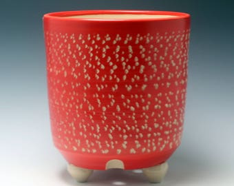 Extra Large Handmade Porcelain Bright Red and White Ceramic Utensil Holder (OR Planter) Carved Texture/ tripod feet/Ceramics and Pottery