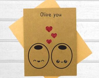 Olive You Love Card - Valentines Day Card - Boyfriend Card - Kawaii Card - Love Card For Him - Cute I Love You Card - Card for Husband