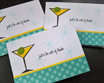 Martini Thank You Notes Set of 3,Thank You Cards, Martini Lover Gift, Cocktail Cards