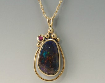 P674- 14ky Boulder Opal and Ruby Pendant- One of a Kind