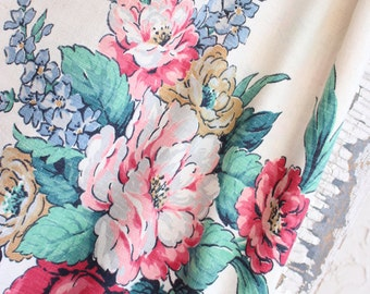 1940s Retro Floral Vintage Linen Fabric Mid Century Drape Drapery Panels