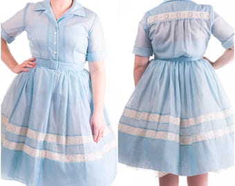 1950's Blue Organdy Day Dress 50's Shirtwaist Lace Trim Pleated Skirt