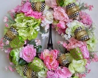 Pastel Wreath, Spring Wreath, Mother's Day Wreath,  Summer Wreath, Peony Wreath, Door Wreath, Wreath, French Wreath, Eiffel Tower Wreath