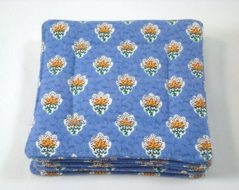 French Country Fabric Coasters Set of 4 Charles Demery Fabric Coasters French Blue Coasters Beverage Coasters