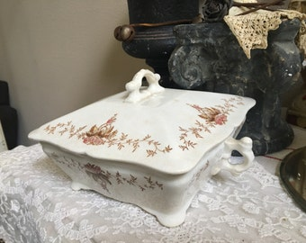 Antique Square Covered Vegetable Dish
