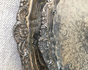 Vintage Silver Plated Beautiful Ornate Set of Footed Serving Trays