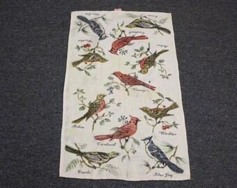 Vintage 1970 Fallani & Cohn Songbird Linen Tea Towel (E7958)