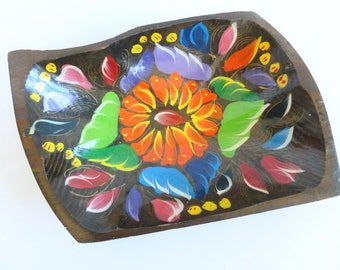 Mexican Folk Art Wood Wooden Batea Dough Bowl Hand Painted Colorful Flowers