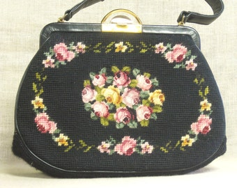 Handbag , Needlepoint , Needlepoint Purse , Purse , Flowers , Black , Floral Motif , Koro , Small Handbag , Pocket Book , Ladies Bags , Bag