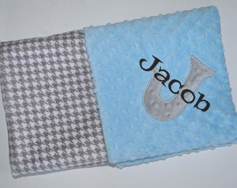 SALE Monogrammed Baby Blanket -  Minky Gray and White Houndstooth, Light Blue, Personalized Baby Gift Blanket with name Newborn