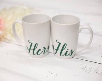 His Hers Gift Set, Hubby Wifey Mugs, His Mug, Hers Mug, Couples Mugs, Wifey and Hubby, His and Hers Mugs, Wedding Couples Mug, Coffee Mug.