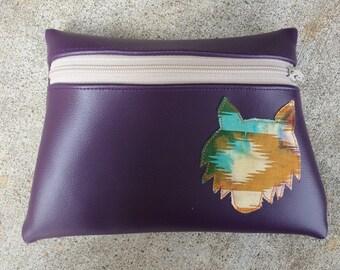 Wolf totem purple vinyl pouch