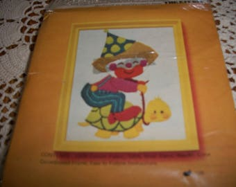Clown Riding Turtle Crewel Embroidery Kit
