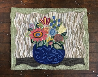 Original, Primitive, Hand Hooked Large Rug by Loop by Loop Studio - Flower Pot - FREE SHIPPING to USA with Coupon Code