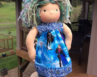 "Frozen, 14-16"" Waldorf doll clothes, ooak"