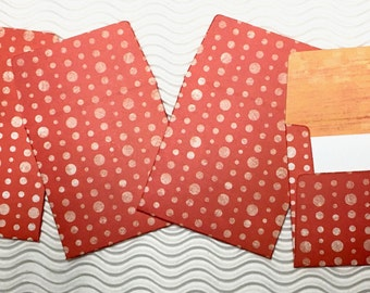 12 teeny tiny envelope note card sets handmade miniature square orange stationery party favors weddings guest book