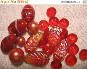 Vintage supplies Vintage lampworked  orange AB bead lot ONLY LOT