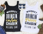 Country Bachelorette Party Shirts - Whiskey Drinkin' Groom or Cowboy Chasin' Helluva Time