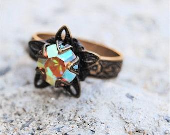 SALE Aurora Borealis Rainbow Swarovski Crystal Ring Victorian Stargazer Antiqued Brass Adjustable Ring
