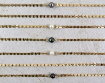 Gold Chain Choker, Elegant Textured Disc, Tahitian Pearls, Freshwater Pearl Jewelry, Boho Fashion, Girls Necklace, Gift Idea, Adjustable