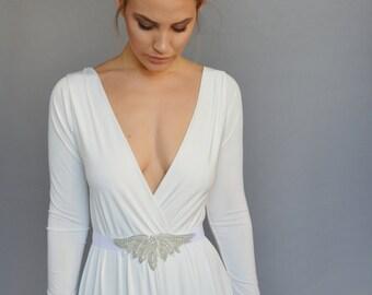 Simple white dress floor length, beaded jewelry belt ,bell shape skirt