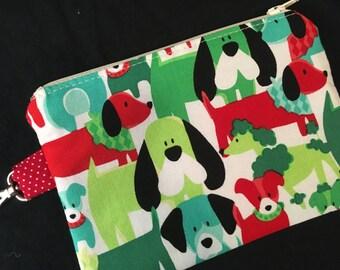 Festive Dogs Zippered Pouch with Swivel Clasp - notions bag, stocking stuffer, teacher bag, knitting bag, handmade
