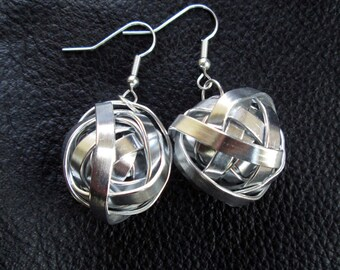 Statement industrial earrings, modern minimalist silver tone aluminum wire ball earrings