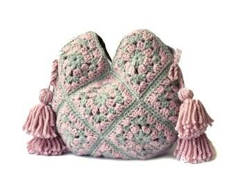 Large pink gray shoulder bag real leather handles boho crochet handbag, extra large tote bag with tassels, fancy purse trendy pink large bag