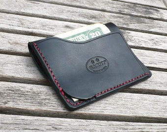 Leather Wallet, minimalist leather wallet, men's wallet, simple wallet, thin wallet, simple wallet, black and red leather, garny No. 9