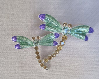 A Pair of Enameled Mint Green and Purple Dragon Flies in a Crystal Enhanced Brooch