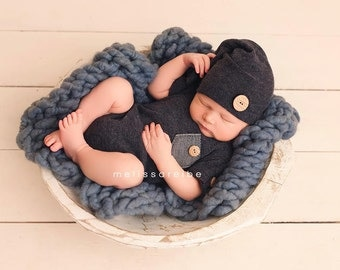 NEW-Newborn Photography Prop Short Sleeves Romper and Sleepers hat-Photography Prop Sets- Boys Clothing-Baby Onesie-Baby Boy Clothing Sets