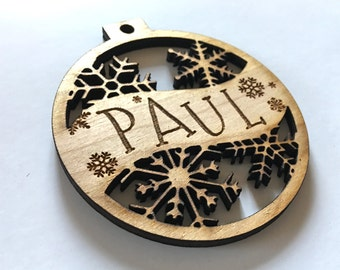 Paul - Customizable Christmas Ornament - Engraved Birch Wood Ornament