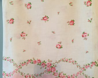 Antique vintage pillow pillowcase fabric ticking tick pink rosebud and garland!! Also would be precious curtains! Nearly 3 yds! 92x36 !