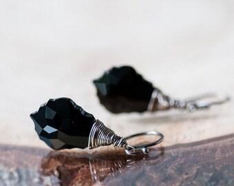 Black Crystal Earrings, Elegant Earrings, Drop Earrings, Wire Wrapped Earrings, Swarovski Jewelry, Black Jewelry, Gift For Her, Swarovski
