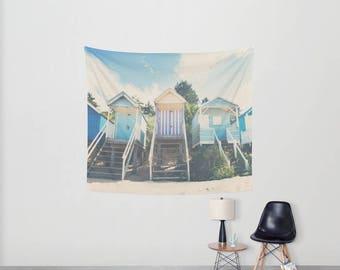 beach hut photograph beach hut tapestry  beach photograph beach wall tapestry boho wall art home decor wall hanging sofa throw