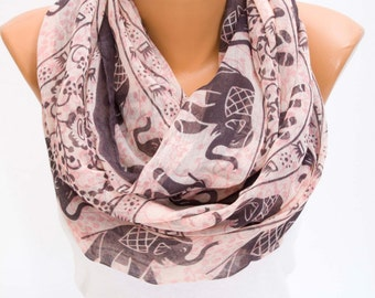 SCARF SALE -Infinity scarf,elephant patterned loop scarf .
