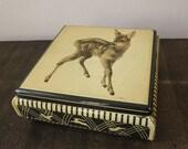 Rare 1950s vtg German TIN BOX Vintage pastel yellow and black BAMBI deer fawn antique collectible 50s metal box home decor