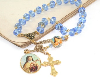 Saint Therese Chaplet Rosary - The Little Flower of the Child Jesus Prayer Beads