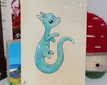 Original Watercolour - Galaxy Dragon - Teal