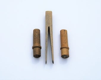 Vintage Wood Sewing Notions: Wood Needle Cases, Wood Clothespin, 3 Vintage Wood Sewing Collectibles