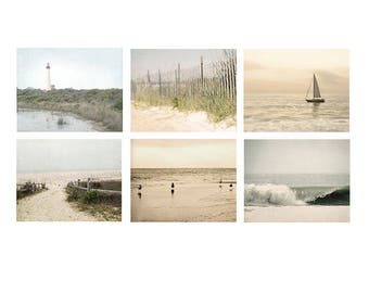 Beach Photo Set, beach photography, beach decor, ocean print beach photos, sailboat, ocean art, beach house decor, ocean decor, set of 6