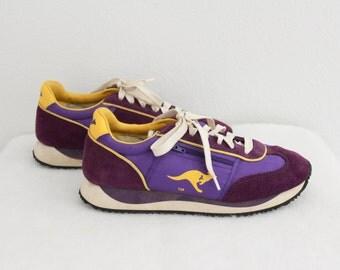 1980s Kangaroos Sneakers Tennis Shoes Trainers Purple Gold Zipper Pocket Womens Vintage 8.5